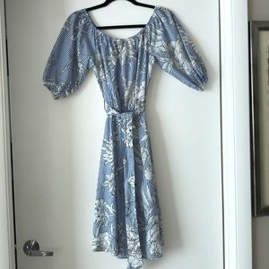 Blue and white floral dress.